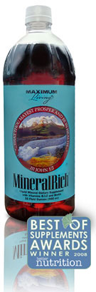 Maximum Living MineralRich Liquid Mineral Supplement. 32 oz. Bottle.